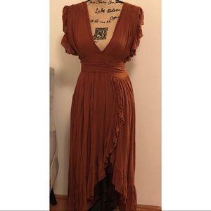 Free People Boho Deep V neck Maxi Dress